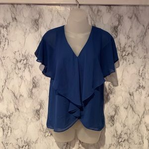 Max Studio Royal Blue Ruffle Front V Neck Blouse